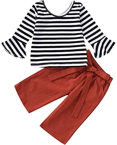 2PCS Child Toddler Kids Girl Outfits Clothes Long Sleeve T-shirt Tops+Pants Suit