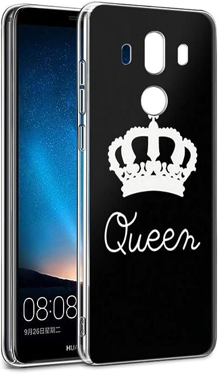 Yoedge Funda Huawei Mate 10 Pro, Silicona Ultra Slim Cárcasa con King Queen Diseño Patrón Bumper Case Cover Fundas para Huawei Mate 10 Pro Smartphone (Queen, Negro-Blanco): Amazon.es: Electrónica