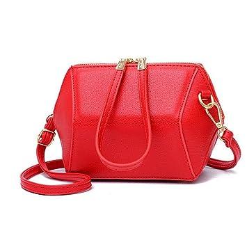 Liu Yu·casa creativa Bolso de Crossbody Bolso de Mujer Bolso Bandolera Elegante Bolso de Bandolera Retro de Piel de Diamante Salvaje (Color : Red): ...
