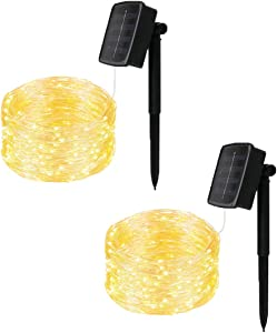 [2 Pack]MTZRFLL Solar String Lights,16.4Ft 50LEDs Wire Lights,Indoor/Outdoor Waterproof Solar Decoration String Lights for Christmas,Gate,Holiday,Wedding,Halloween,Party,Decoration (Warm White)