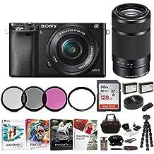 Sony Alpha a6000 Mirrorless Camera w/16-50mm & 55-210mm Lenses & 128GB Bundle (Black)
