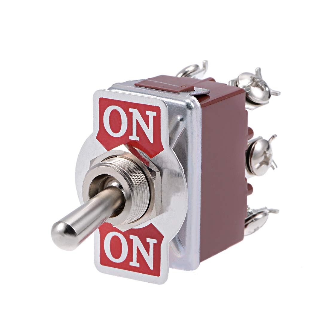 uxcell DPDT Momentary Rocker Toggle Switch Heavy-Duty 15A 250V 6P ON//ON Metal Bat 1pcs