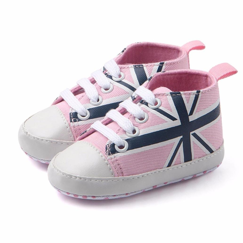 Minshao Newborn Infant Baby Union Jack Flag Print Canvas Anti-slip Soft Shoes Sneaker For 3-12Months