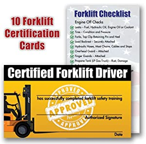 Forklift certification training cards package for Scissor lift certification card template