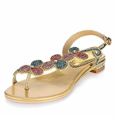 Doris Women's Evening Wedding Dress Shoes Glitter Rhinestone Floral Flip-Flops Sandals Summer Fashion Flat Slippers Gold 4 UK c925vqbgM