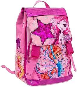 Mochila Escolar Winx Club + Estuche de 3 Pisos Completo con Cremallera + Diario + Llavero + 10 bolígrafos de Colores + marcapáginas: Amazon.es: Equipaje