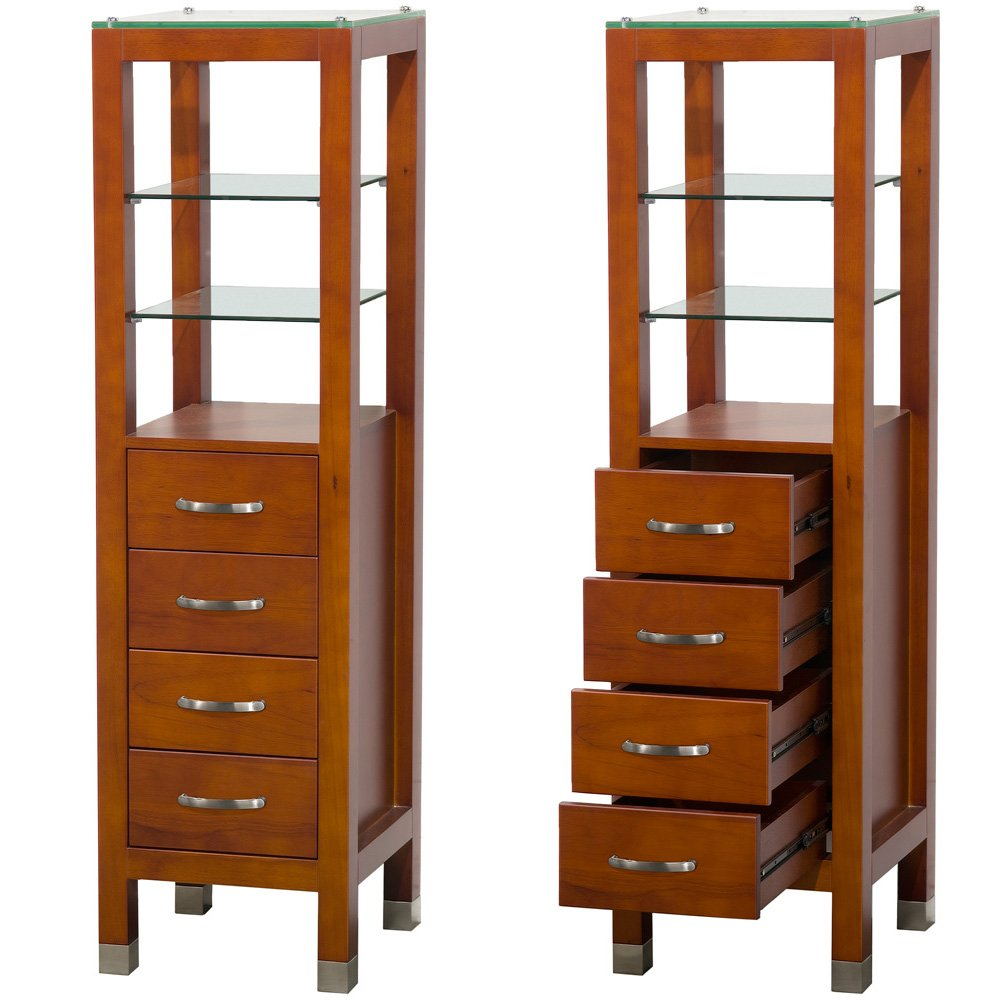 Amazon.com: Wyndham Collection Tavello Linen Tower With Glass Shelving And  4 Drawers In Cherry: Kitchen U0026 Dining