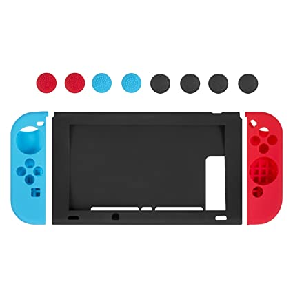 huge selection of af2f4 bdf25 Nintendo Switch Joy-Con Gel Guards (Blue/Red/Black), Keten Switch Case  Anti-slip Silicone Gel Case Cover with 4 pairs Thumb Grips Caps Skins ...