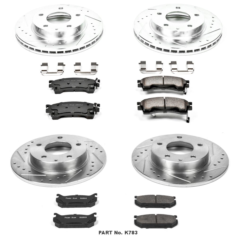 Power Stop K783 Front and Rear Z23 Evolution Brake Kit with Drilled//Slotted Rotors and Ceramic Brake Pads
