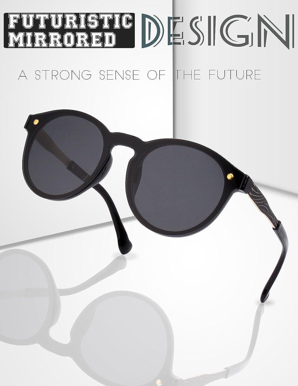 19ebfb43e2 GQUEEN Futurista Sin Marco Redondas Gafas de Sol Protector Reflexivo Espejo  Anteojos para Hombre Mujer MEO5 ...