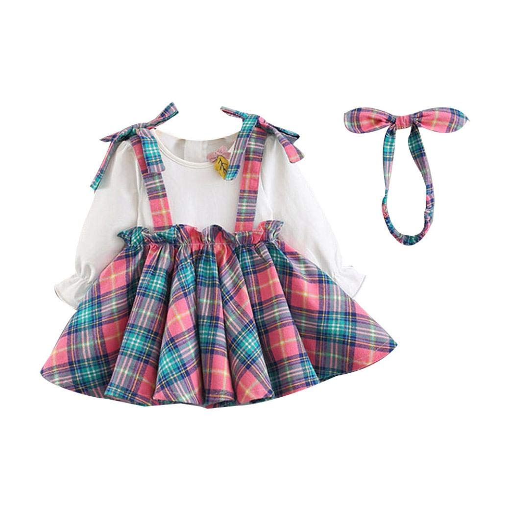 Baby Girl Autumn Grid Dress,Jchen(TM) Newborn Infant Baby Girl Long Sleeve Plaid Princess Dress Headband Clothes Set for 0-24 Months (Age: 0-6 Months, Pink)