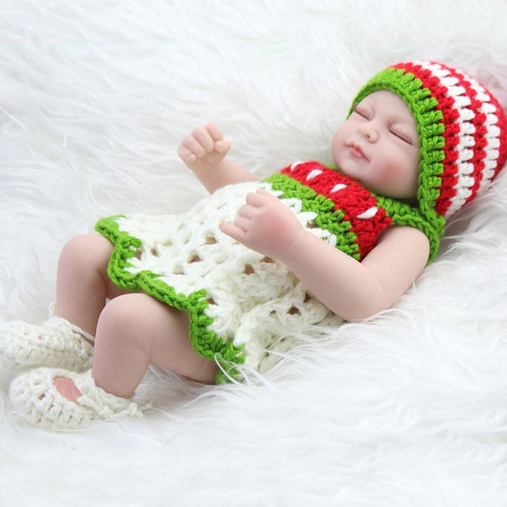 LINAG Babypuppen Reborn Baby Vinyl Silikon Weich Lebensechte Wirkendes Neugeborene Realistische Wiedergeboren Spielkameraden Simulation Mädchen Junge Spielhausspielzeug Prinzessin 28cm Doll-