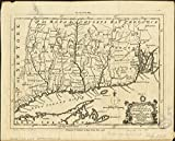 Historic Map | 1758 A map of the colonies of Connecticut and Rhode Island, divided into counties & townships, from the best authorities | Antique Vintage Reproduction
