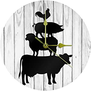 MEETNew Rustic Farmhouse Cow Chicken Pig Stacked Animals Decorative Wall Clock Non Ticking Silent, 10 inch Acrylic Battery Operated Round Wall Clock for Bedroom/Living Room/Office/Kitchen Home Decor