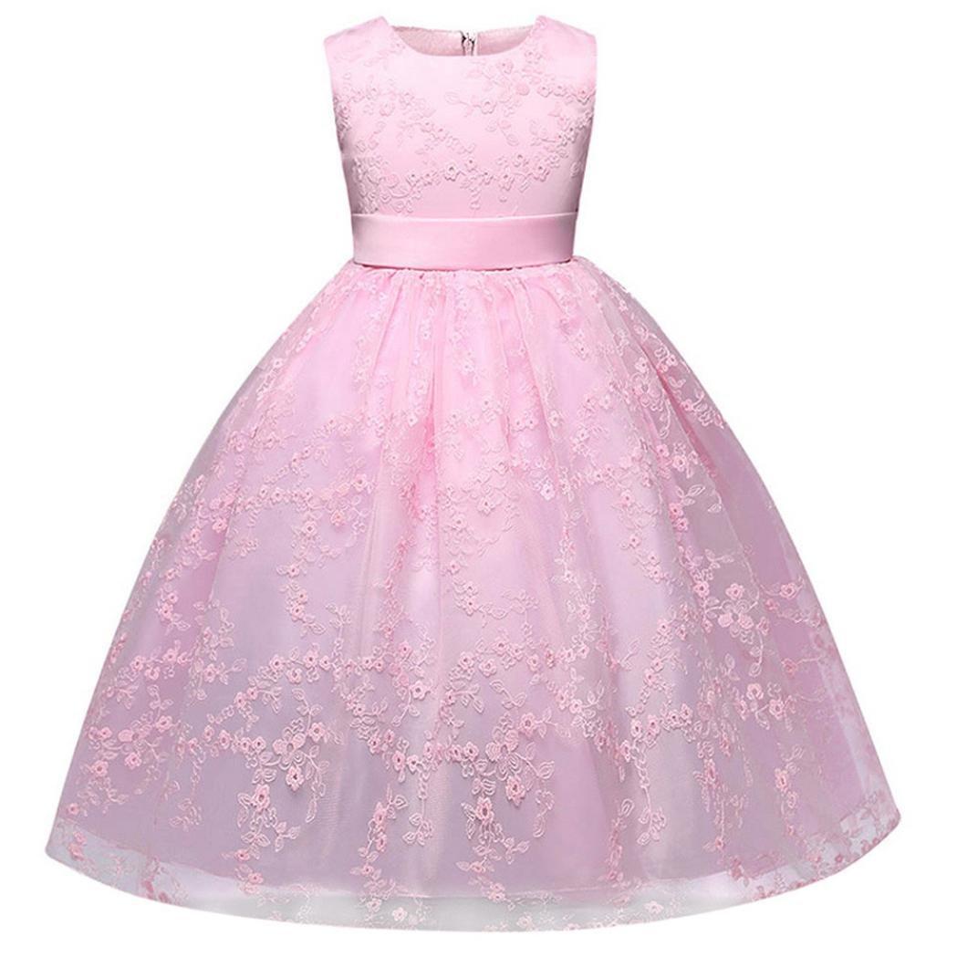 Fuibo Mädchen Partykleid, Festlich Kleid Spitze Mädchen Prinzessin Kleid Kinder Party Hochzeit Brautjungfer Formale Ballkleid Kleider Fuibo Mädchen Partykleid