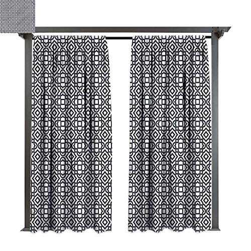 Stripes Valance Jacquard - cobeDecor Outdoor Curtain Geometric Vintage Jacquard for Lawn & Garden, Water & Wind Proof W108 xL108