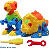 SUPRBIRD Dinosaur Play 2 Sets, Assemble and Disassemble Dinosaurs DIY Take-apart Pull Along Toys for Kids over 3 Years Old