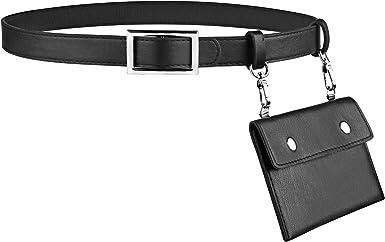 HBselect Cinturon Mujer Negro Con Bolsa Pequeña Cuero Desmontable Elegante Cinturones Para Mujer Ropa Accssorio