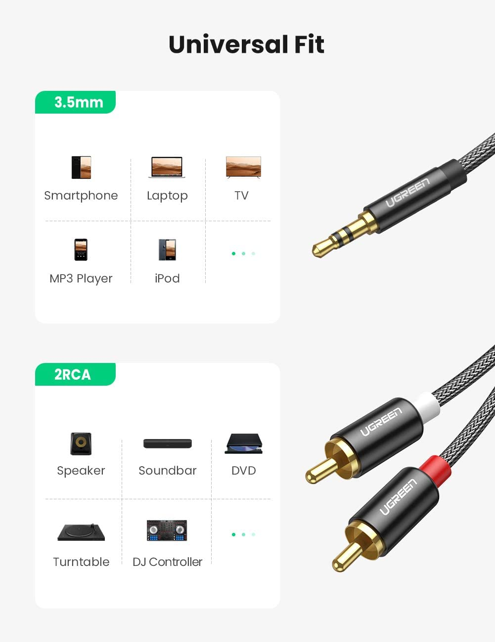 10ft UGREEN 3.5mm to 2 Male RCA Adapter Cable Stereo Aux Jack Male to 2RCA Phono Y Audio Splitter Connector Braided for Speakers Laptop Tablet Car and More MP3 Player iPod Smartphone