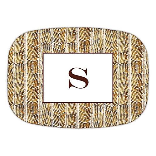 Chatsworth Herringbone Melamine Platter with Single Initial, Z, Multicolored