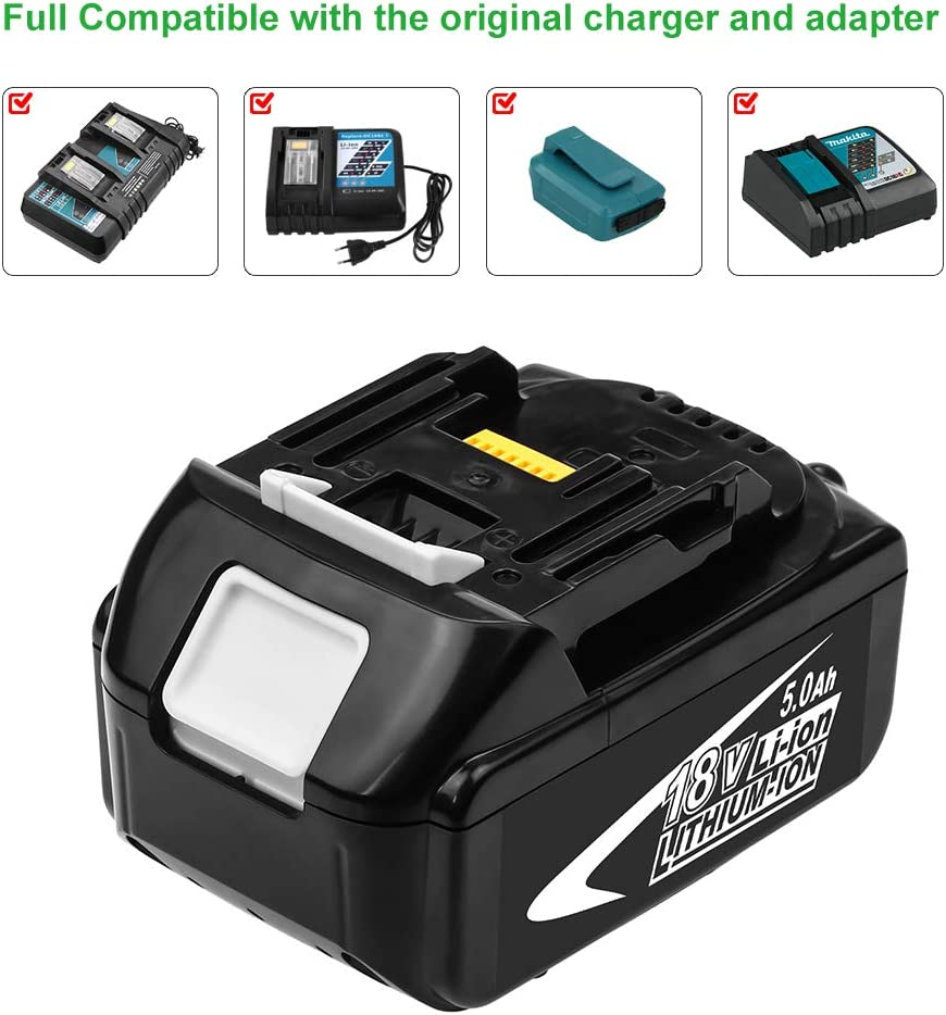 Hochstern BL1850B Replacement for Makita 18V Battery Lithium BL1850 BL1850B BL1840 BL1840B BL1830B BL1815 BL1820 BL1830 BL1835 BL1835B 194205-3 194309-1 LXT-400 Cordless Power Tools