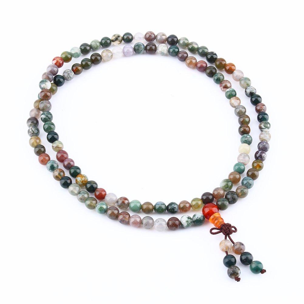 Yosoo Bracelet collier 108 perles multicolores Bracelet lien poignet Tibétain Cadeau Noël amies femme homme