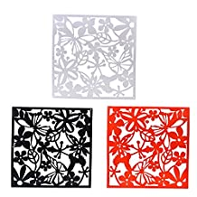 Dovewill 12 Pieces White,Black,Red Butterfly Flower Hanging Screens Room Divider Space Partition Wall Decal
