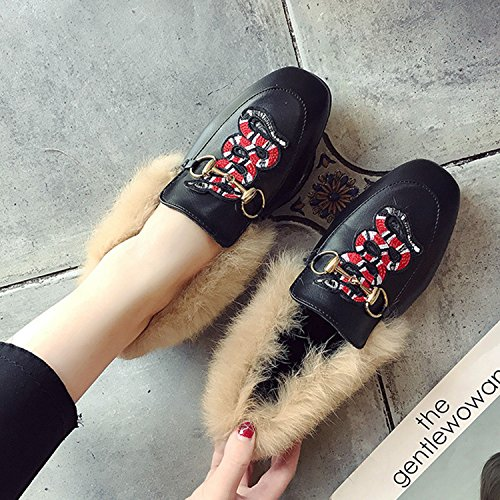 Toe on Shoes Slip Horsebit Faux Embroidery Fur Women's Square Oasap red 8YFqAaH
