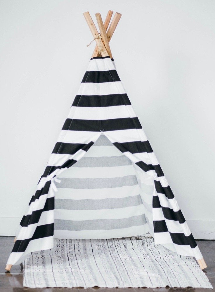 Kids teepee play tent Black and White stripes