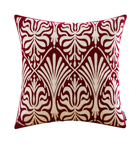 dered Christmas Decorative Throw Pillow Covers Cushion Cases for Couch Sofa Bed Bedroom Wine Red European Simple Geometric Burgundy Floral 18 x 18 inch 45 x 45 cm,1 Piece ()