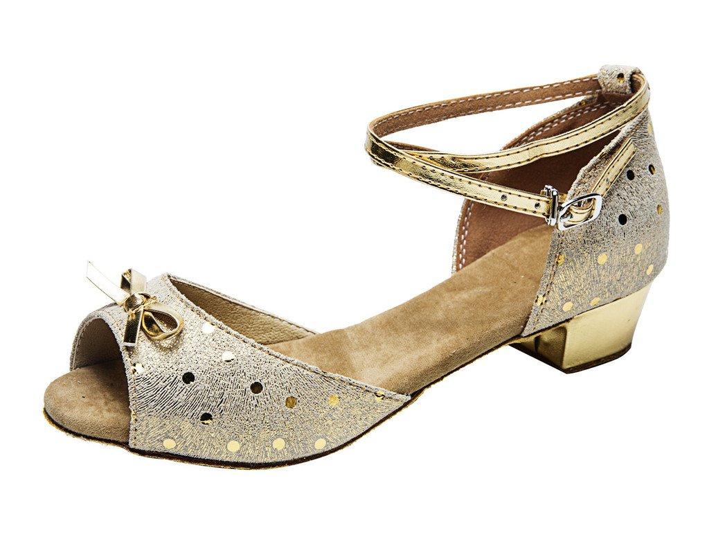 missfiona Girl's Polka Dot Peep-Toe Leather Latin Ballroom Dance Shoes With Bowknot(1.5, Gold)
