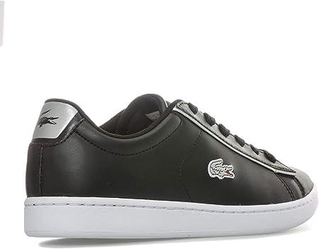 Lacoste Junior Carnaby EVO - Zapatillas Deportivas (Acolchadas), Color Negro y Plateado