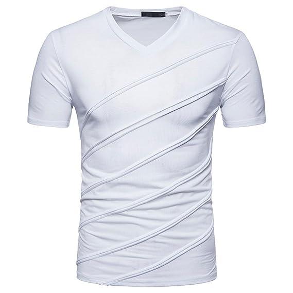 Lenfesh Blusa Camisetas de Manga Corta Sólida Ocasional Moderna para Hombres Top Tees Baratas Verano (
