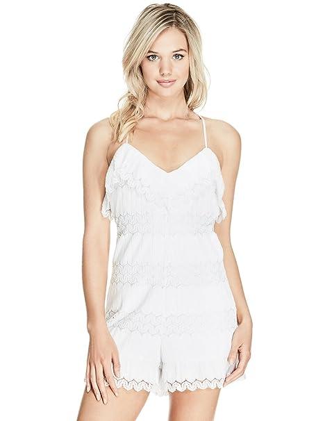7786a80e8192 Amazon.com  GUESS Womens Lace Ruffled Romper White M  Clothing