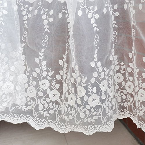 IRIZCO Vine Flowers Embroidery Floral Lace Fabric Off-White Wedding Fabric, French Embroidered Lace, Bridal Lace Fabric, Wedding Dress Lace, Apparel Curtain Fabric by The Yard ()