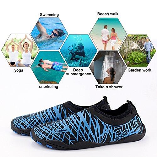avec natation Chaussures en néoprène caoutchouc plage tuba pour Chaussures la unisexes semelle rapide à AHATECH la la chaussures respirantes Chaussettes de aquatiques la aquatiques plongée adultes plongée pour séchage bleu aquatiques Aqua pRpgr