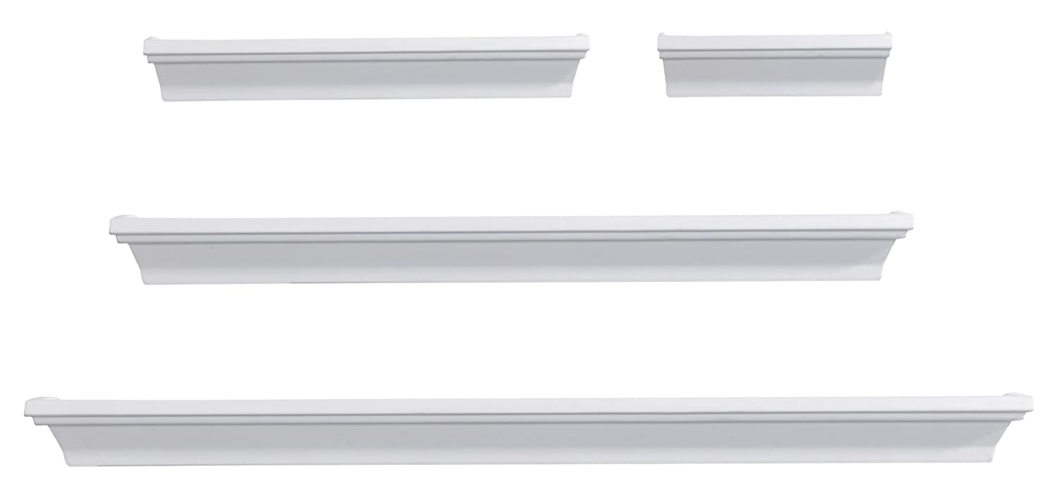 MELANNCO Floating Wall Mount Molding Ledge Shelves Set of 4 White