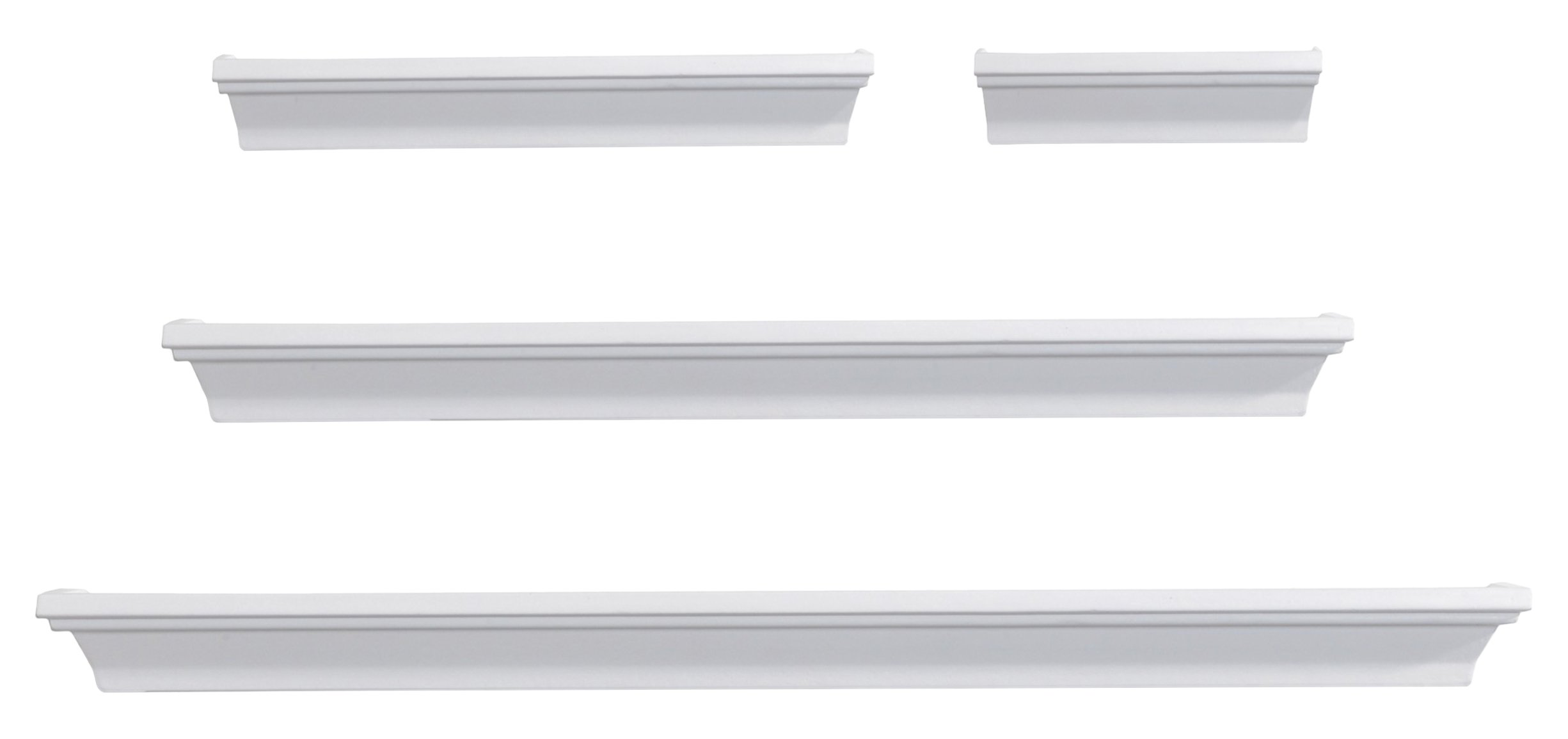 Melannco Floating Wall Mount Molding Ledge Shelves, Set of 4, White by MELANNCO