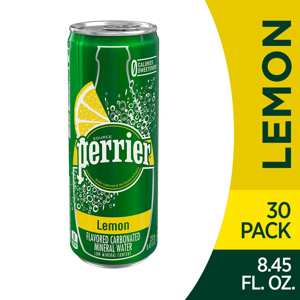 Perrier Lemon Flavored Carbonated Mineral Water, Slim Cans, 8.45 Fl Oz (30 Pack) by Perrier