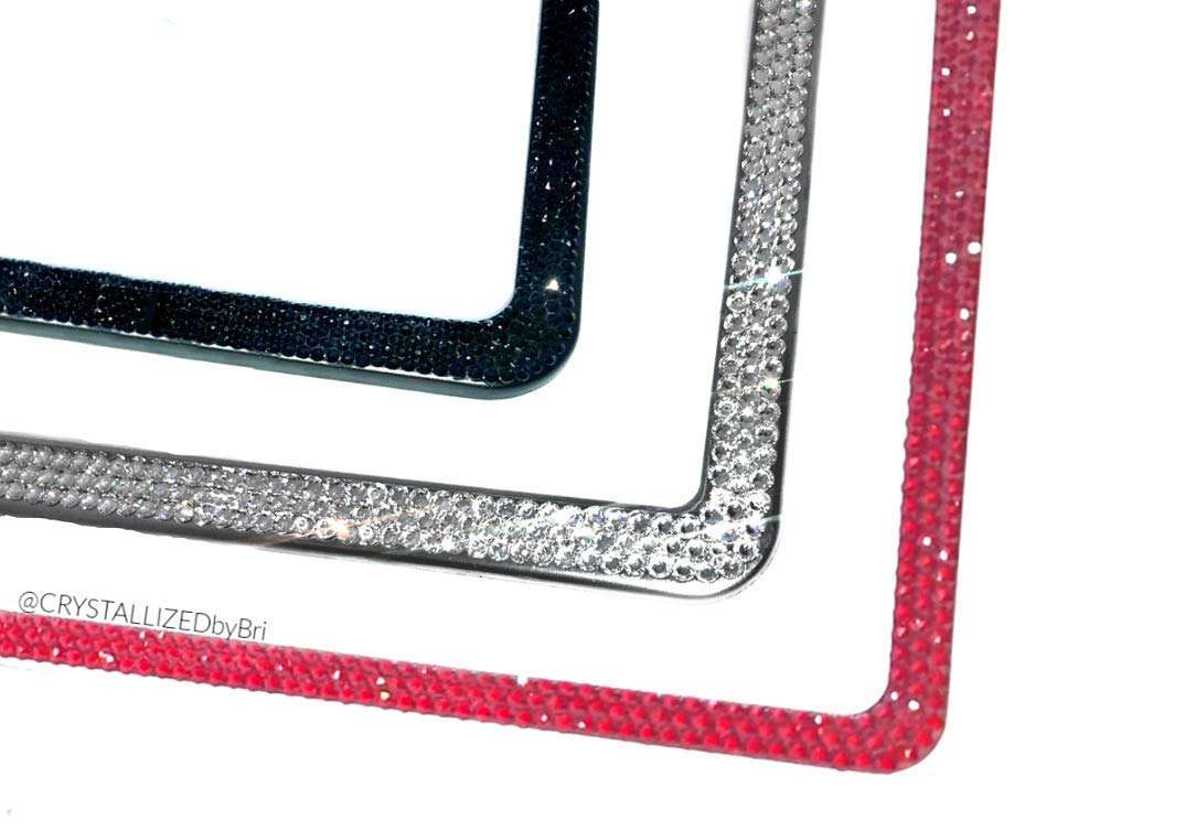 GOLDEN SHADOW Crystal Screw Caps for License Frame made w// Swarovski Elements