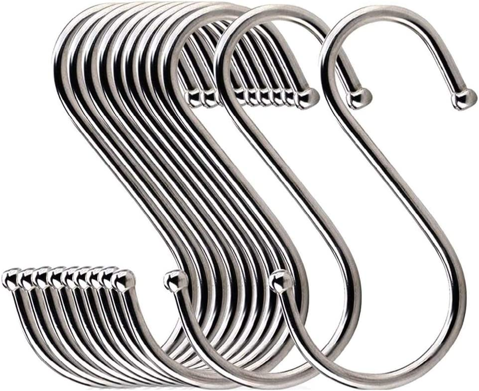 LOYMR 18 Pack 4.7 Inches Extra Large S Shape Hooks Heavy-Duty Metal Hanging Hooks Apply Kitchenware Bathroom Utensils Plants Towels Gardening Multiple uses Tools (Silver)