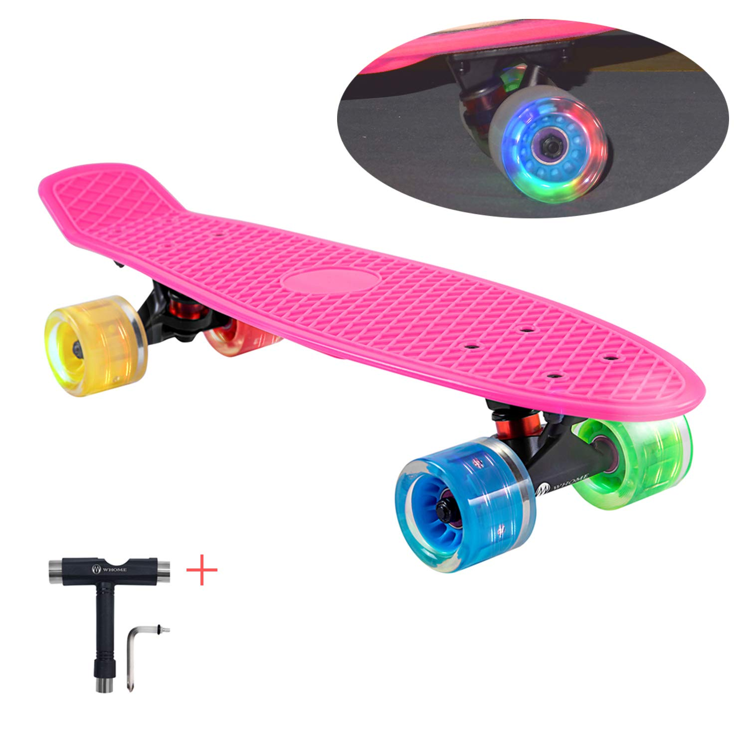 WHOME LED Wheel Skateboard Complete for Adults and Beginners - 22 Inch Cruiser Skateboard with 60x45mm LED Light Up Wheels for Cruising Commuting Rolling Around T-Tool Inclued
