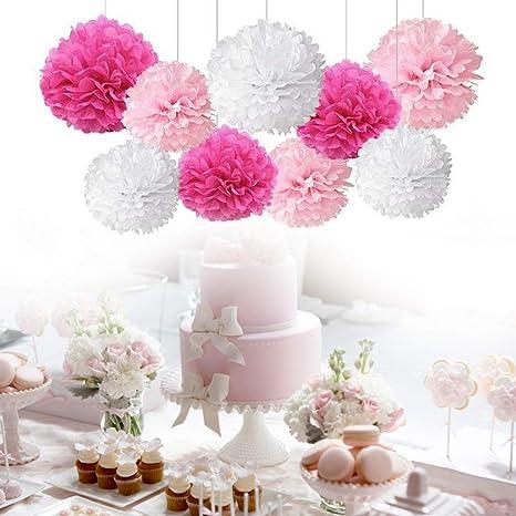 15 Flores De Papel Pompones Decoraciones Pompom Para Cumpleanos Boda