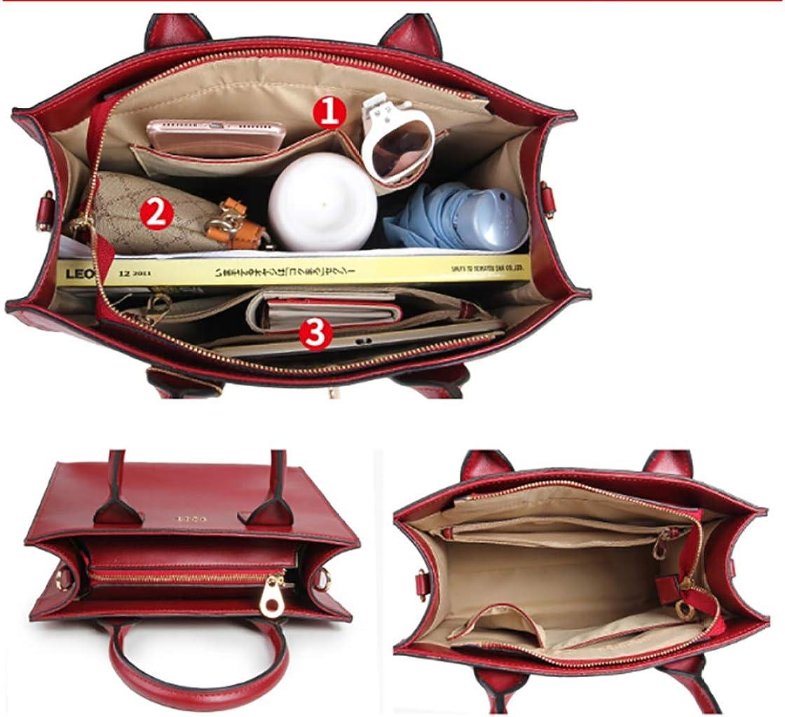FLHT Borsa a mano da donna, in pelle con tracolla e portafoglio Brown
