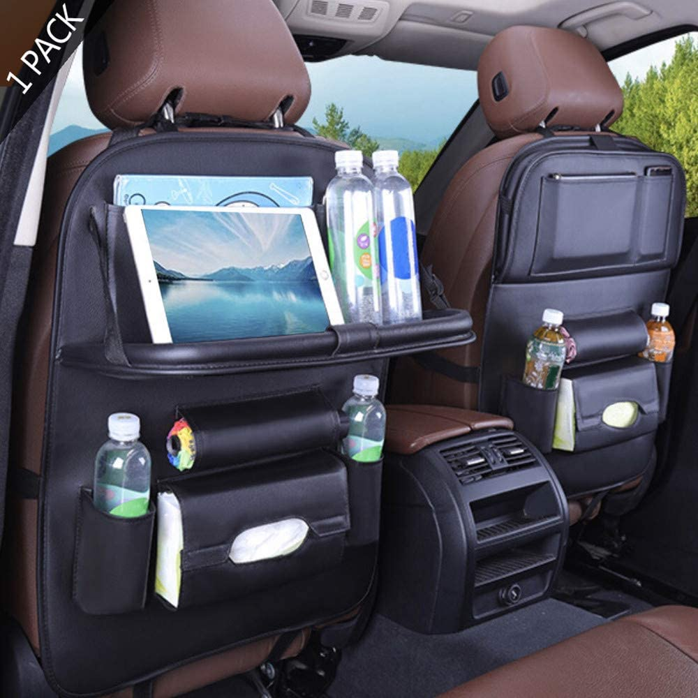 1 Pack BackSeat Car Organizer Seat Protector//Kick mats Back seat Protector and Cup Hold PU Leather Premium Car BackSeat Organizer Travel Accessories