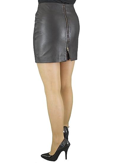 ec1285b9c94e Ashwood for Tout Ensemble Black Luxury Leather Mini Skirt with Full Rear Zip  (15 inch Length)  Amazon.co.uk  Clothing