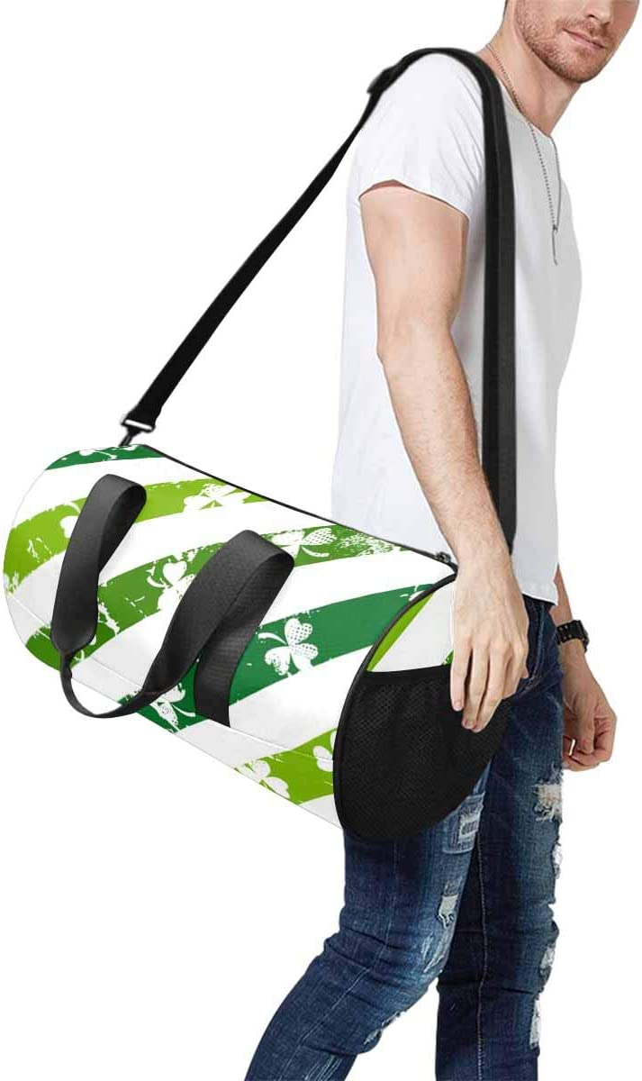 INTERESTPRINT Grunge Lines with Shamrocks Travel Duffle Bag Sports Lightweight Luggage Duffel