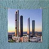 L-QN fast dry towelmadrid spain financial district skyline at dusk for Maximum Softness W19.7 x W19.7