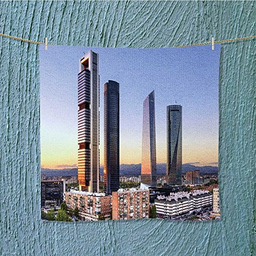 L-QN fast dry towelmadrid spain financial district skyline at dusk for Maximum Softness W19.7 x W19.7 by L-QN