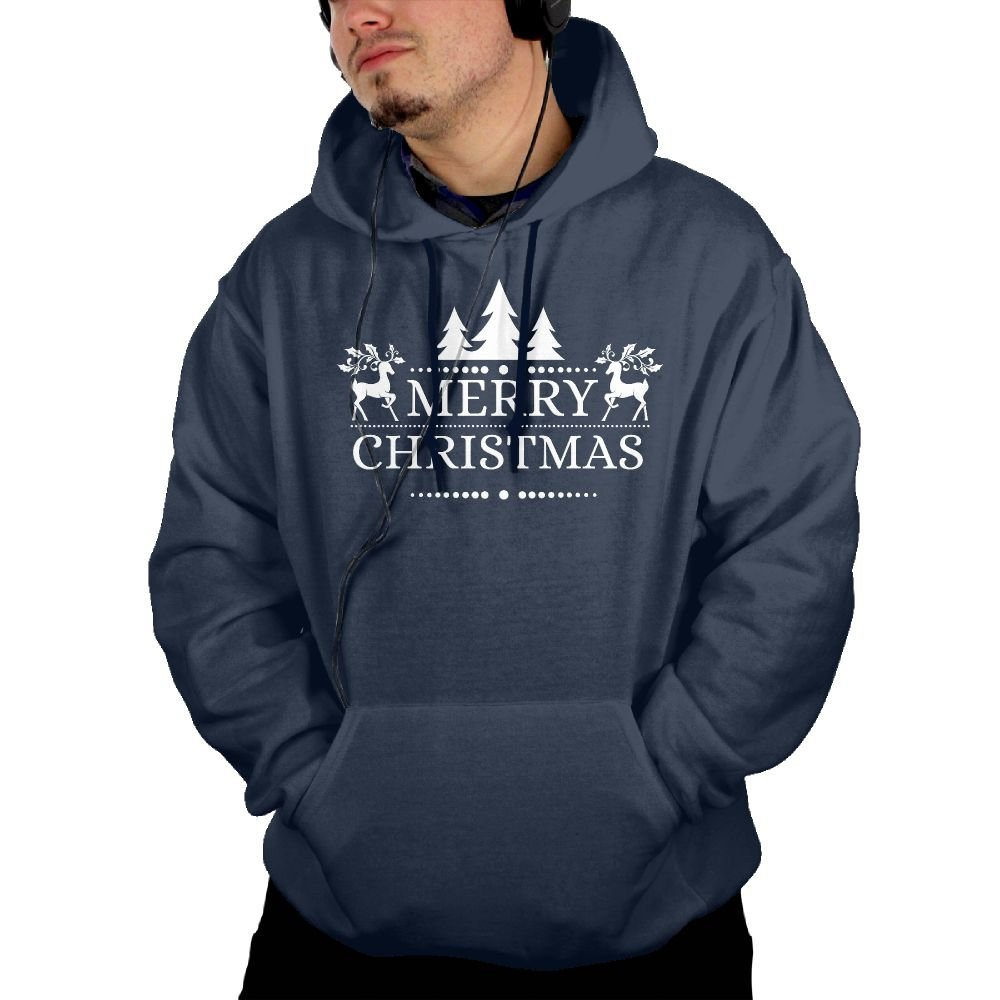 UUE Mens Pullover Hoodie Sweatshirt With Pockets Printed Merry Christmas White Deer Design For Men Boys